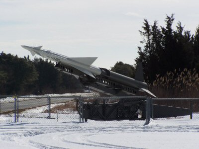 Nike Ajax missile with launcher is displayed at Sandy Hook
