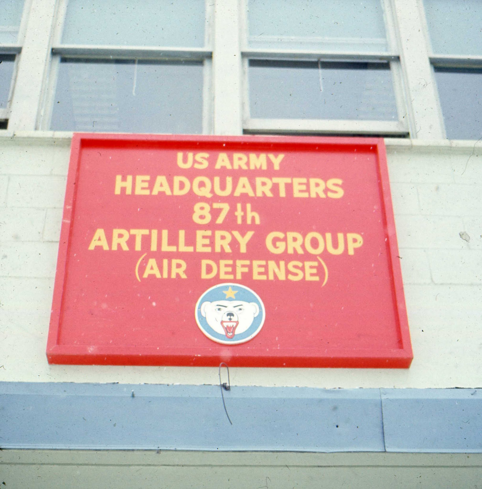 Sign: US Army Headquarters, 87th artillery group (air defense)