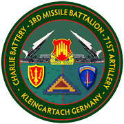 Patch: Charlie Battery- 3rd Missile Battalion-71st Artillery-Kleingartach, Germany