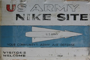 Sign welcoming visitors to U.S. Army Nike Site