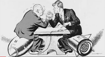 Kennedy and Kruschev wrestle over Nuclear weapons